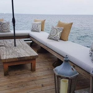 Custom cushions for a luxury dockside haven